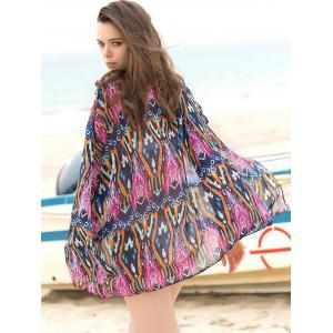 Ethnic Geometrical 3/4 Sleeve Cover-Up Kimono For Women -