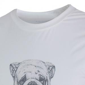 Funny 3D Dog Print Color Spliced Fitted Round Neck Short Sleeves T-Shirt For Men -