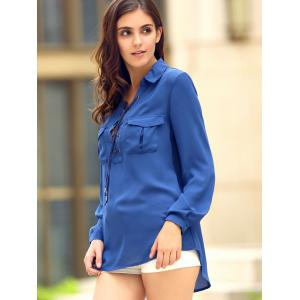 Fashionable Shirt Collar Long Sleeve Lace-Up High-Low Hem Pocket Blouse For Women -
