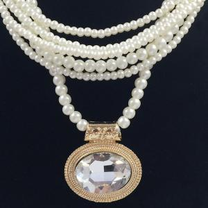 Multilayered Fake Gem Pearl Beaded Chain Necklace -