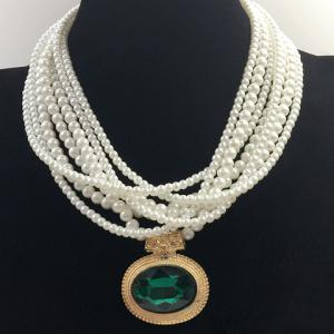 Multilayered Fake Gem Pearl Beaded Chain Necklace - COLOR ASSORTED
