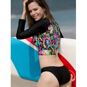 Chic Long Sleeve Zipper Design Printed Women's Two-Piece Swimsuit -