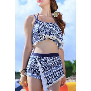 Stylish Halter Hollow Out Printed Three-Piece Women's Swimsuit - Blue - M