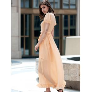Ladylike Plunging Neck Short Sleeve Ruffled Self Tie Belt Maxi Dress For Women -