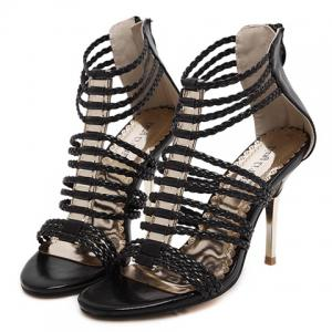 Stylish Zipper and Weaving Design Sandals For Women -