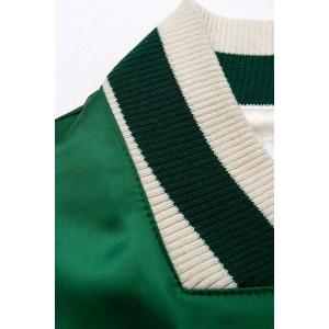 Stylish Stand Neck Long Sleeve Embroidered Women's Green Baseball Jacket - GREEN L