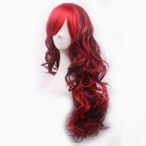 Charming Long Black Mixed Red Shaggy Curly Side Bang Synthetic Cosplay Wig For Women -