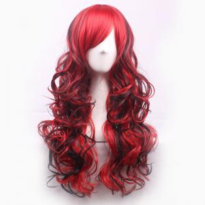 Charming Long Black Mixed Red Shaggy Curly Side Bang Synthetic Cosplay Wig For Women - RED/BLACK
