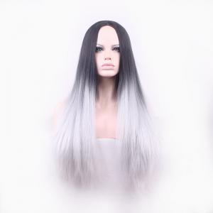 Attractive Long Straight Vogue Black Ombre Gray Middle Part Synthetic Cosplay Wig For Women -