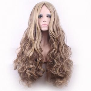 Bouffant Curly Long Synthetic Trendy Light Blonde Mixed Brown Middle Part Cosplay Wig For Women -