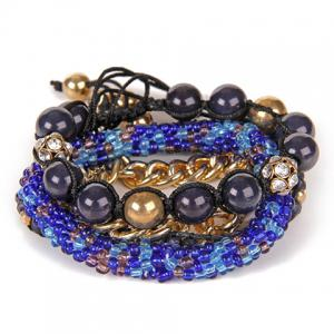 Multilayer Rhinestoned Beads Alloy Bracelet -
