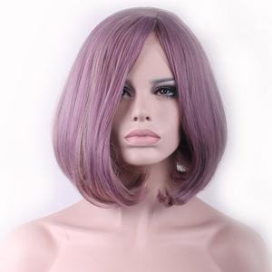 Two-Tone Mixed Short Synthetic Bob Style Straight Side Parting Cosplay Wig For Women - COLORMIX