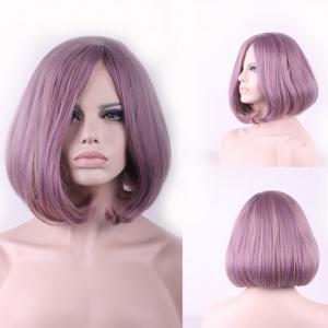 Two-Tone Mixed Short Synthetic Bob Style Straight Side Parting Cosplay Wig For Women