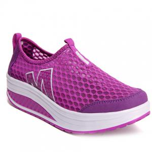 Casual Letter and Splicing Design Athletic Shoes For Women - Purple - 39