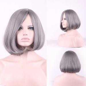 Prevailing Grandma Ash Short Synthetic Bob Style Straight Tail Adduction Cosplay Wig For Women