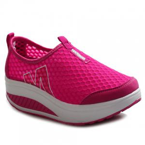 Casual Letter and Splicing Design Athletic Shoes For Women - Rose - 36