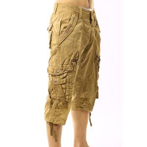 Plus Size Narrow Feet Capri Cargo Pants - KHAKI 38