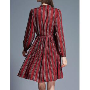 Retro Style Stand Collar Long Sleeves Striped Dress For Women -