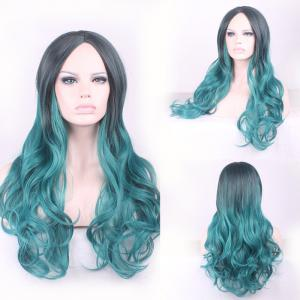 Gorgeous Black Ombre Blackish Green Long Synthetic Fluffy Wavy Middle Part Cosplay Wig For Women