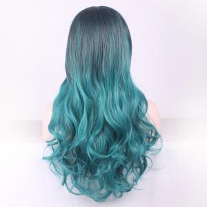 Gorgeous Black Ombre Blackish Green Long Synthetic Fluffy Wavy Middle Part Cosplay Wig For Women - OMBRE