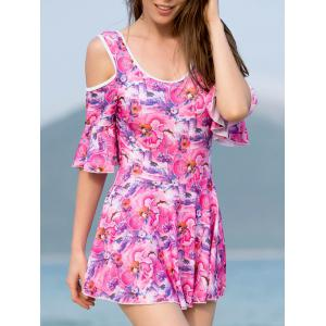 Trendy 3/4 Sleeve Floral Print Cut Out Women's Swimwear - Rose - Xl