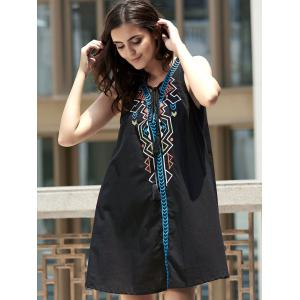 Sleeveless Geometric Pendant Casual Classy Dress - BLACK S