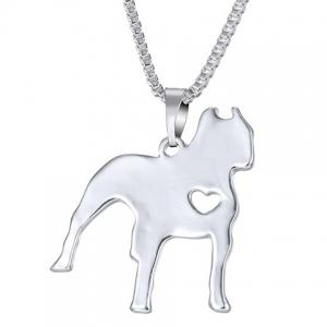 Delicate Solid Color Dog Heart Pendant Necklace For Women - Silver