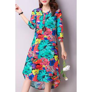 Colorful Ethnic Print Knee Length Dress -