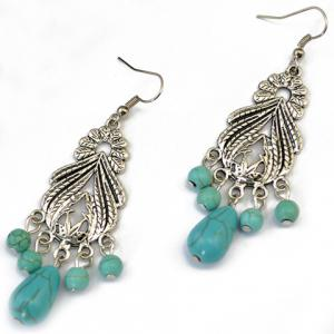 Pair of Stylish Faux Turquoise Leaf Alloy Drop Earrings - SILVER