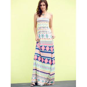 Bandeau Geometric Print Strapless Maxi Bohemian Dress - APPLE GREEN M