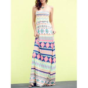 Bandeau Geometric Print Strapless Maxi Bohemian Dress - Apple Green - Xl