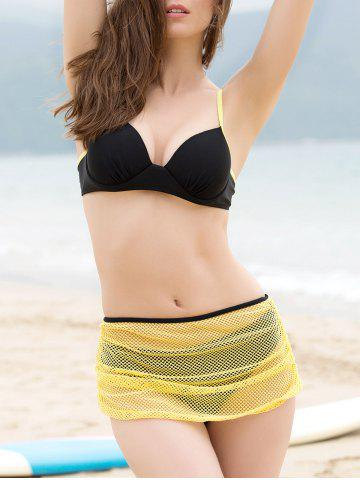 Unique Push Up Bikini + Yellow Skirt + T-Shirt Four Piece Swimwear
