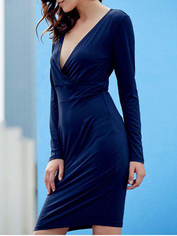 Affordable Sexy Plunging Neck Long Sleeve Bodycon Pure Color Women's Dress