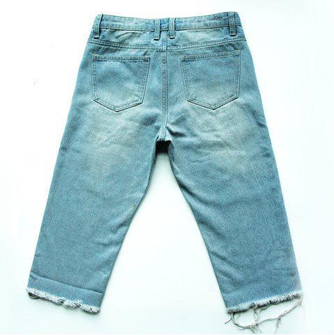 Outfit Casual Frayed Bermuda Denim Long Shorts - 29 LIGHT BLUE Mobile