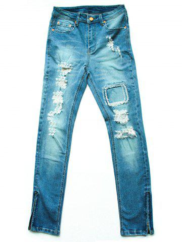 Shop Street Style Bleach Wash Ripped Jeans For Women LIGHT BLUE 30
