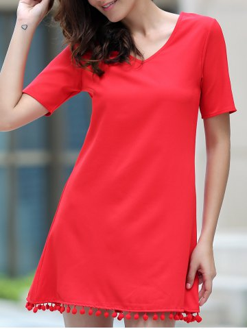 Discount Graceful V Neck Short Sleeve Solid Color Tassels Embellished Dress For Women - M RED Mobile