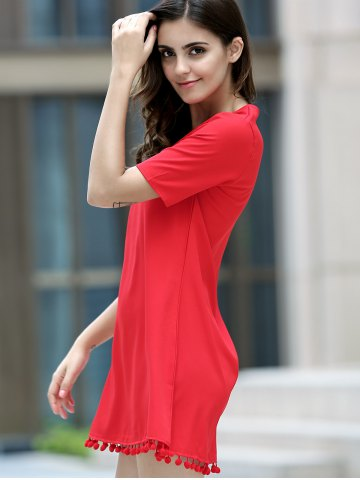 Buy Graceful V Neck Short Sleeve Solid Color Tassels Embellished Dress For Women - XL RED Mobile