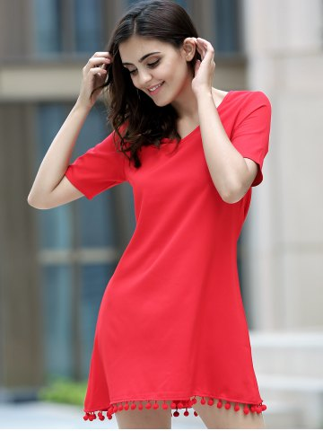 Store Graceful V Neck Short Sleeve Solid Color Tassels Embellished Dress For Women - XL RED Mobile