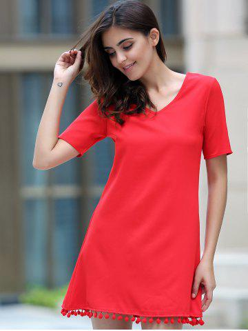 Chic Graceful V Neck Short Sleeve Solid Color Tassels Embellished Dress For Women - XL RED Mobile