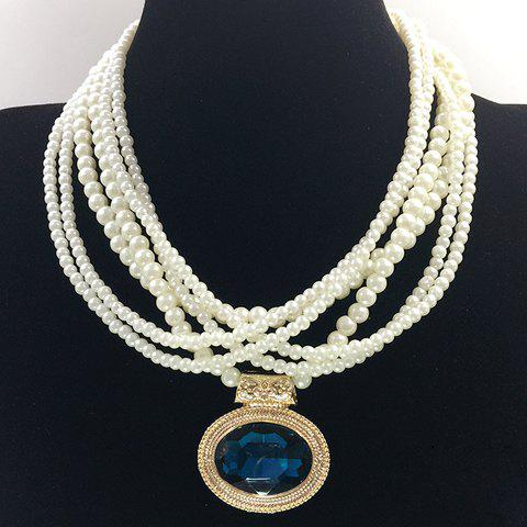 Hot Multilayered Fake Gem Pearl Beaded Chain Necklace - COLOR ASSORTED  Mobile