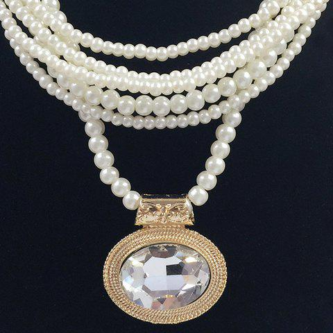 Fashion Multilayered Fake Gem Pearl Beaded Chain Necklace - COLOR ASSORTED  Mobile