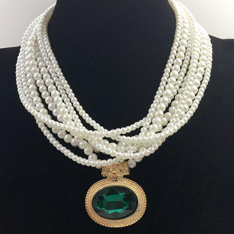Buy Multilayered Fake Gem Pearl Beaded Chain Necklace - COLOR ASSORTED  Mobile