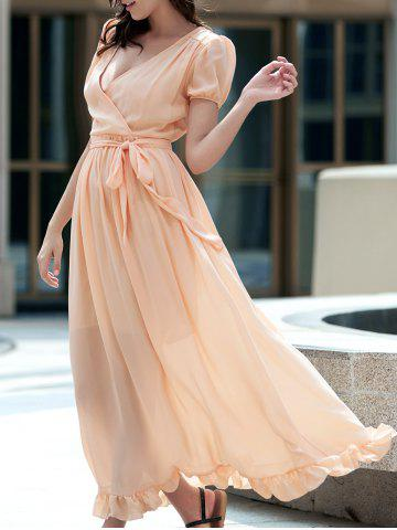 Discount Ladylike Plunging Neck Short Sleeve Ruffled Self Tie Belt Maxi Dress For Women