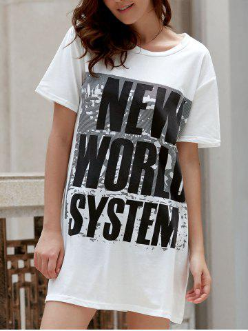 Fashion Leisure Style Round Collar Short Sleeve Letter Pattern Loose T-Shirt For Women