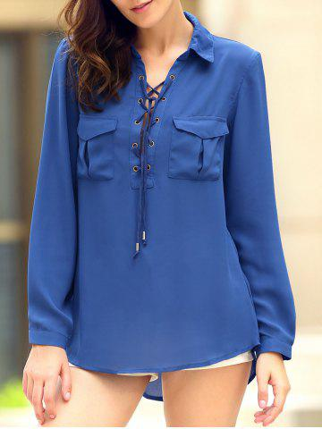 Fancy Fashionable Shirt Collar Long Sleeve Lace-Up High-Low Hem Pocket Blouse For Women