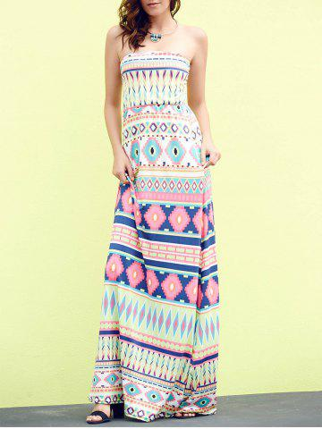 Cheap Bandeau Geometric Print Strapless Maxi Bohemian Dress APPLE GREEN M