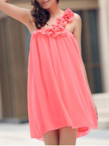 Outfits Mini One Shoulder Chiffon Swing Dress WATERMELON RED S