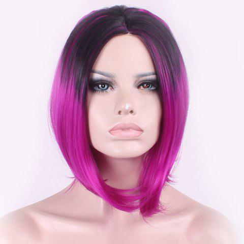 Latest Elegant Straight Middle Part Synthetic Bob Style Black Gradient Purple Medium Cosplay Wig For Women - BLACK AND PURPLE  Mobile