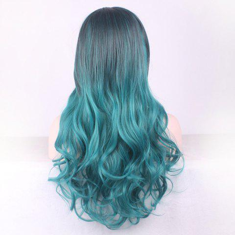 Trendy Gorgeous Black Ombre Blackish Green Long Synthetic Fluffy Wavy Middle Part Cosplay Wig For Women - OMBRE 1211#  Mobile