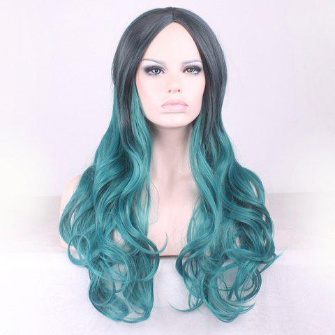 Fancy Gorgeous Black Ombre Blackish Green Long Synthetic Fluffy Wavy Middle Part Cosplay Wig For Women - OMBRE 1211#  Mobile